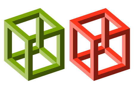 spurious: two different colored cubes showing an optical illusion Illustration