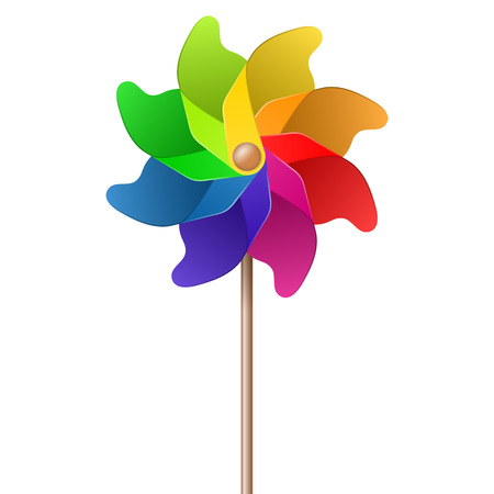 pinwheel toy: colorful summer toy pinwheel with eight colors Illustration