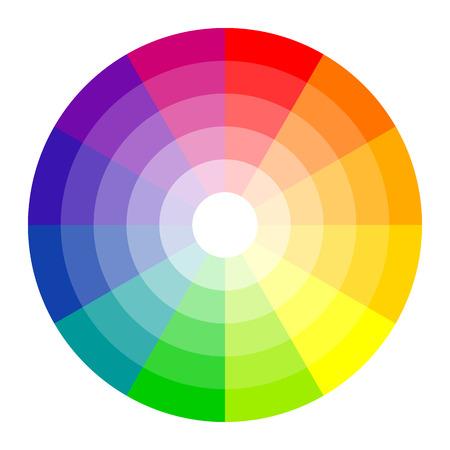 barvitý: barevný kruh s dvanácti barvách na bílém pozadí