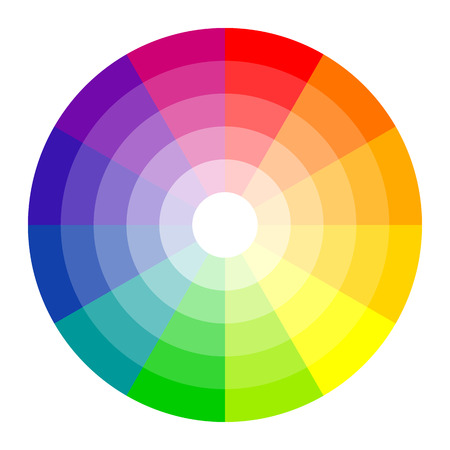 red and blue: color circle with twelve colors isolated on white background Illustration