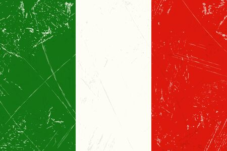 tore: Grunge flag of country Italy with scratches