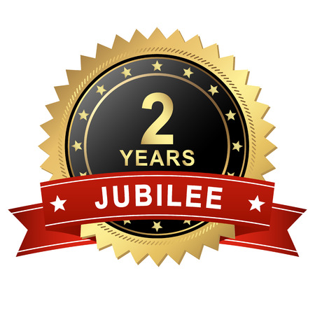 jubilant: golden jubilee Button with red Banner for 2 YEARS