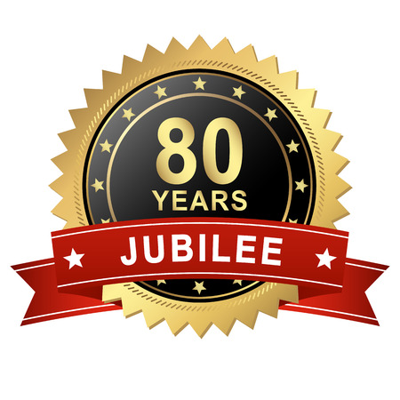 80 years: golden jubilee Button with red Banner for 80 YEARS