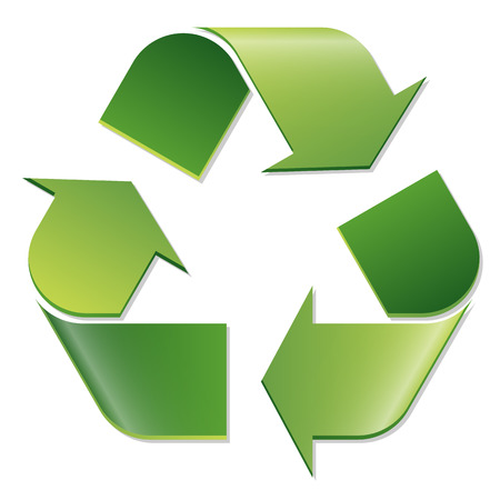 waste recovery: Recycling symbol colored green with three circular arrows