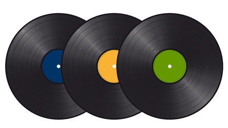 rarity: three vinyl records with colored labels about each other