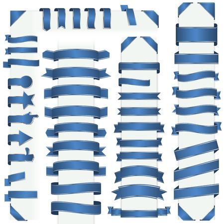 banderole: big collection of design retro banners blue Illustration