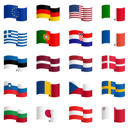 big collection of country flags No.1 vector Illustration