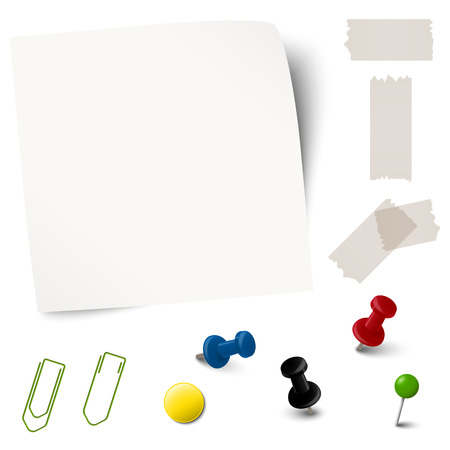 provide information: collection of empty paper with office accessories vector