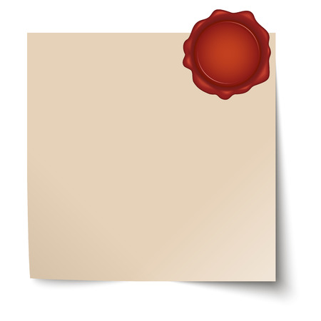 cachet: vector of empty paper with red wax seal
