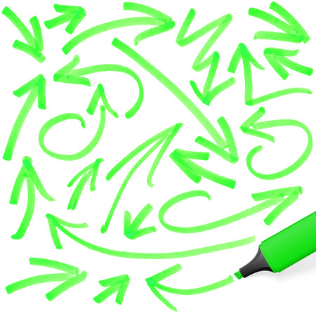 felt tip: green colored highlighter with different hand drawn markings