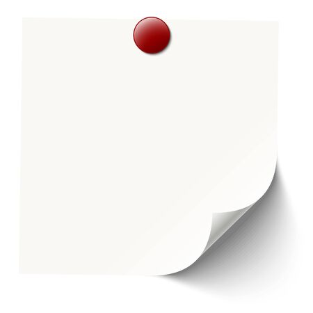 pin needle: white sticky note with red pin needle