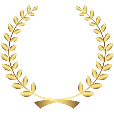 golden laurel wreath isolated on white background