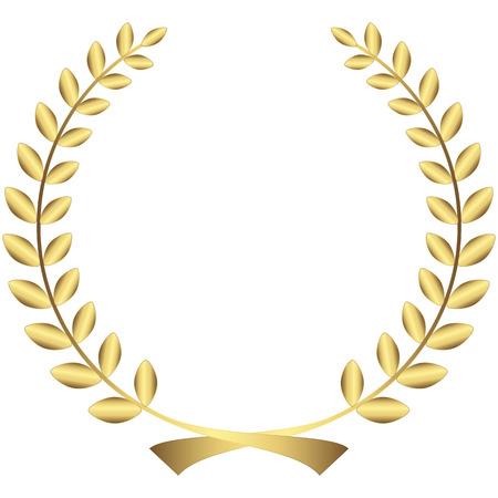 golden laurel wreath isolated on white background