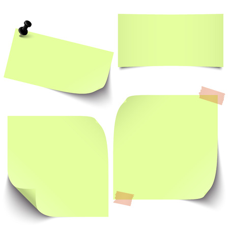provide information: little sticky paper collection with colored pin needle and adhesive tape