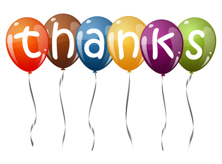 many thanks: six flying balloons multi colored with text THANKS