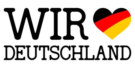 hangtag: text we love germany with heart flag and white background Illustration