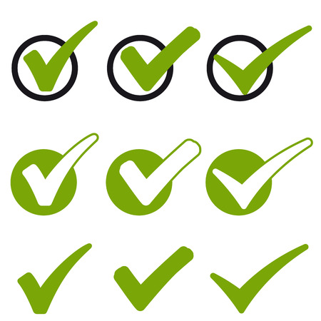 big collection of different green success check marks