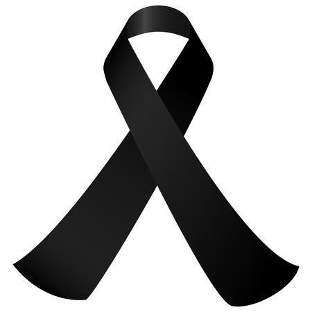 ruban noir: notion de deuil avec un ruban de sensibilisation noir isol� Illustration