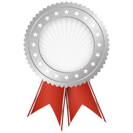 cachet: silver seal of quality template with red ribbons