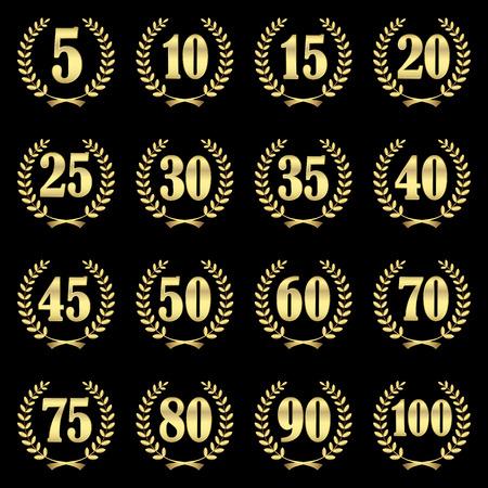 fermo: collezione di corone di alloro per l'impresa giubilare 5 a 100 anni