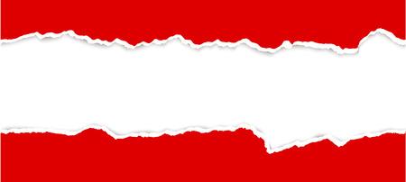 bovenste en onderste deel van opengescheurd papier rood gekleurd