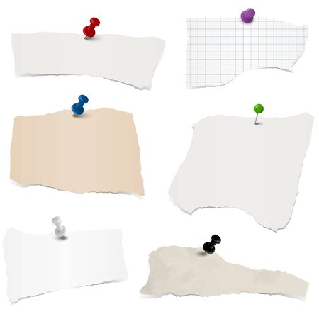 demolish: collection of different colored scraps of papers with pin needles Illustration