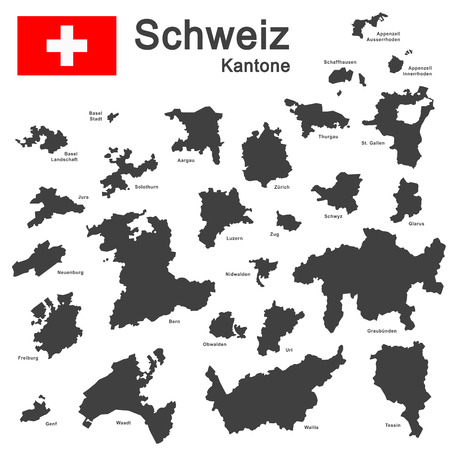 cantons: silhouettes of country Switzerland and all cantons Illustration