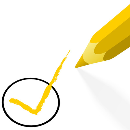 illustration of pencil colored yellow drawing a hook Vector