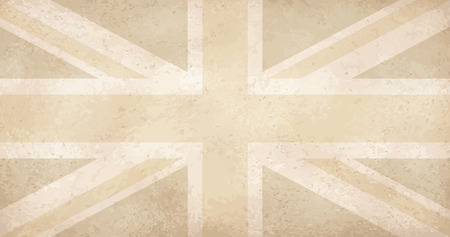 yellowed: vector of vintage yellowed grunge flag with scratches UK