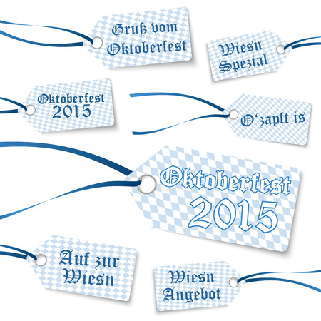 wiesn: collection of Oktoberfest hangtags with blue-white checkered pattern and different text