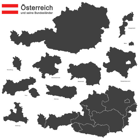 tyrol: silhouettes of Austria and the federal states Illustration