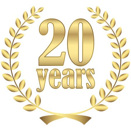 Lorbeerkranz auf festen Jubiläum mit Text 20 Jahre Standard-Bild - 37920675