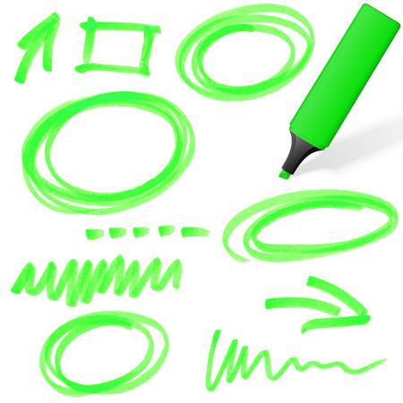 groen gekleurde markeerstift met verschillende hand getekende markeringen Stock Illustratie