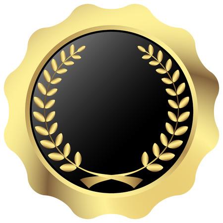 月桂樹の花輪を持つ品質テンプレートのゴールド シールします。  イラスト・ベクター素材