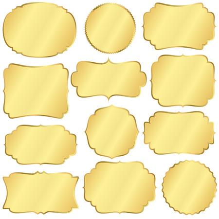 Sammlung von verschiedenen Vintage Etiketten farbige Gold