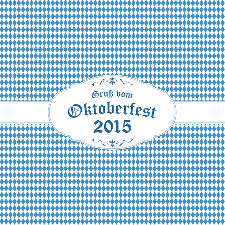 beer garden: Oktoberfest background with blue-white checkered pattern, banner and text Oktoberfest 2015