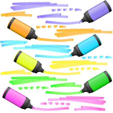 collection of six highlighters with different markings Vector