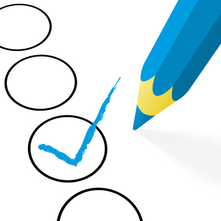 illustration of pencil colored blue drawing a hook