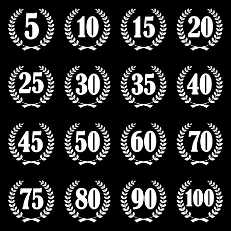 collection of laurel wreaths for firm jubilee from 5 to 100 years Vector