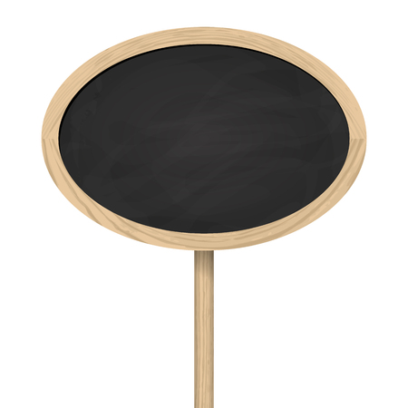 blank oval blackboard with wooden frame