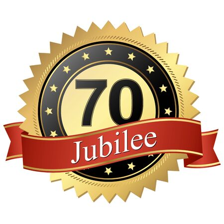 70 years: Jubilee button with banners 70 years
