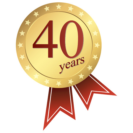 gold jubilee button 40 years Иллюстрация