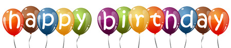 birthday balloon: many multi colored flying balloons with text HAPPY BIRTHDAY Illustration
