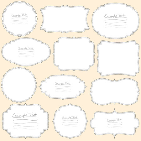 collection of different vintage labels colored black and white Vector