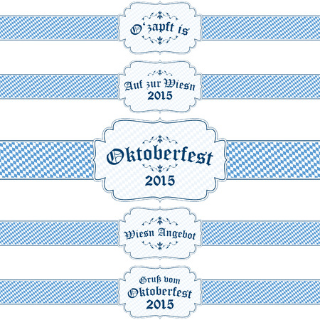 beer garden: five different blue and white Oktoberfest 2015 banners with text