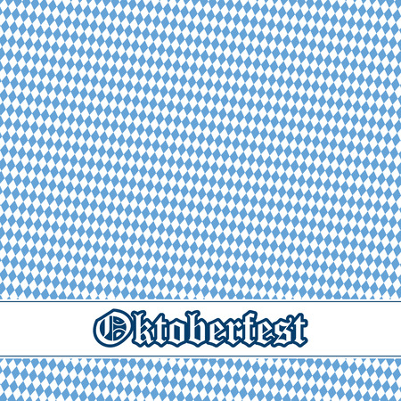 solemnity: Oktoberfest background with blue-white checkered pattern, banner and text Oktoberfest Illustration