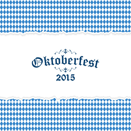 Oktoberfest background with ripped open paper having blue-white checkered pattern and text Oktoberfest 2015 Ilustração