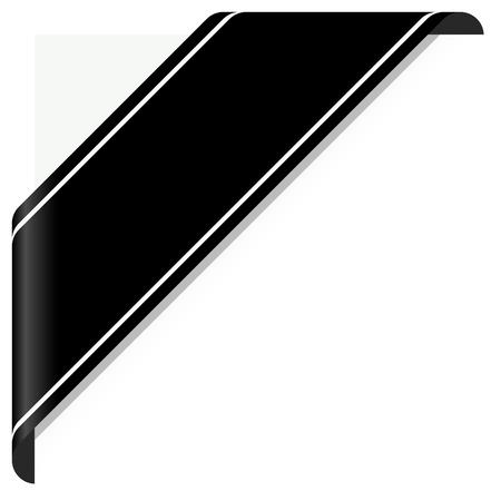 ruban noir: notion de deuil noir bannière de sensibilisation sur blanc