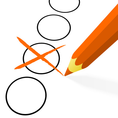 off the hook: illustration of pencil colored orange drawing a cross