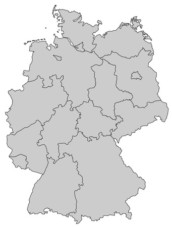 holstein: map of germany with all provinces in gray Illustration